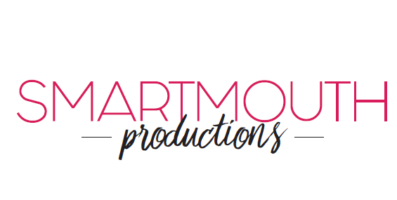 Logo with smartmouth in pink and productions in black cursive